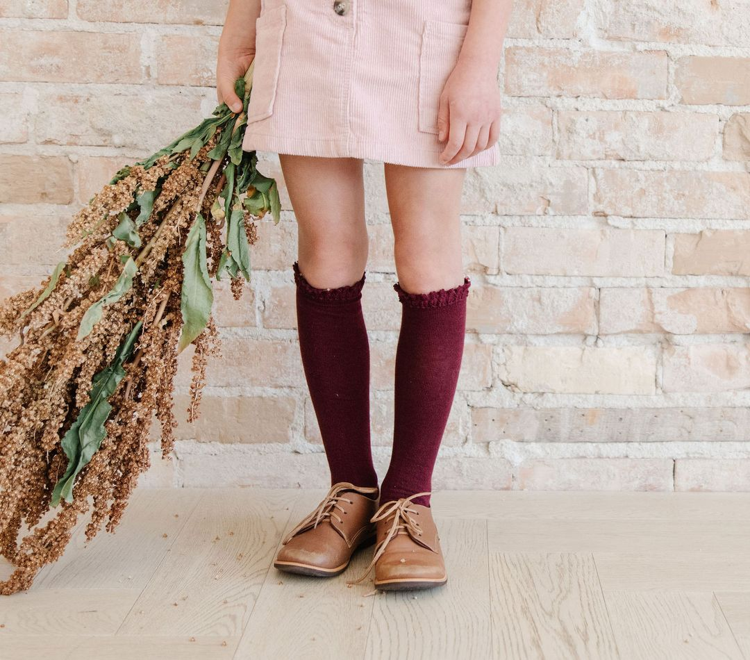 Image of Wine Lace Top Knee Highs