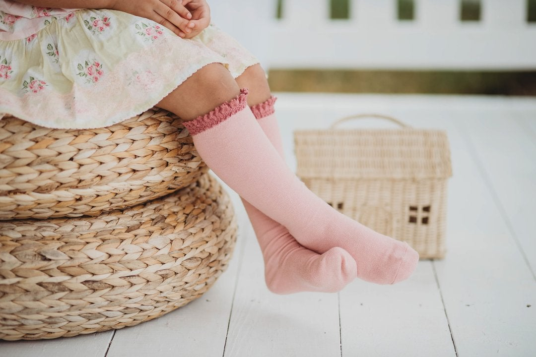 Image of Blush + Mauve Lace Top Knee Highs