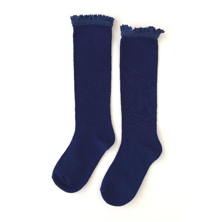Image of Bright Navy Blue Lace Top Knee Highs