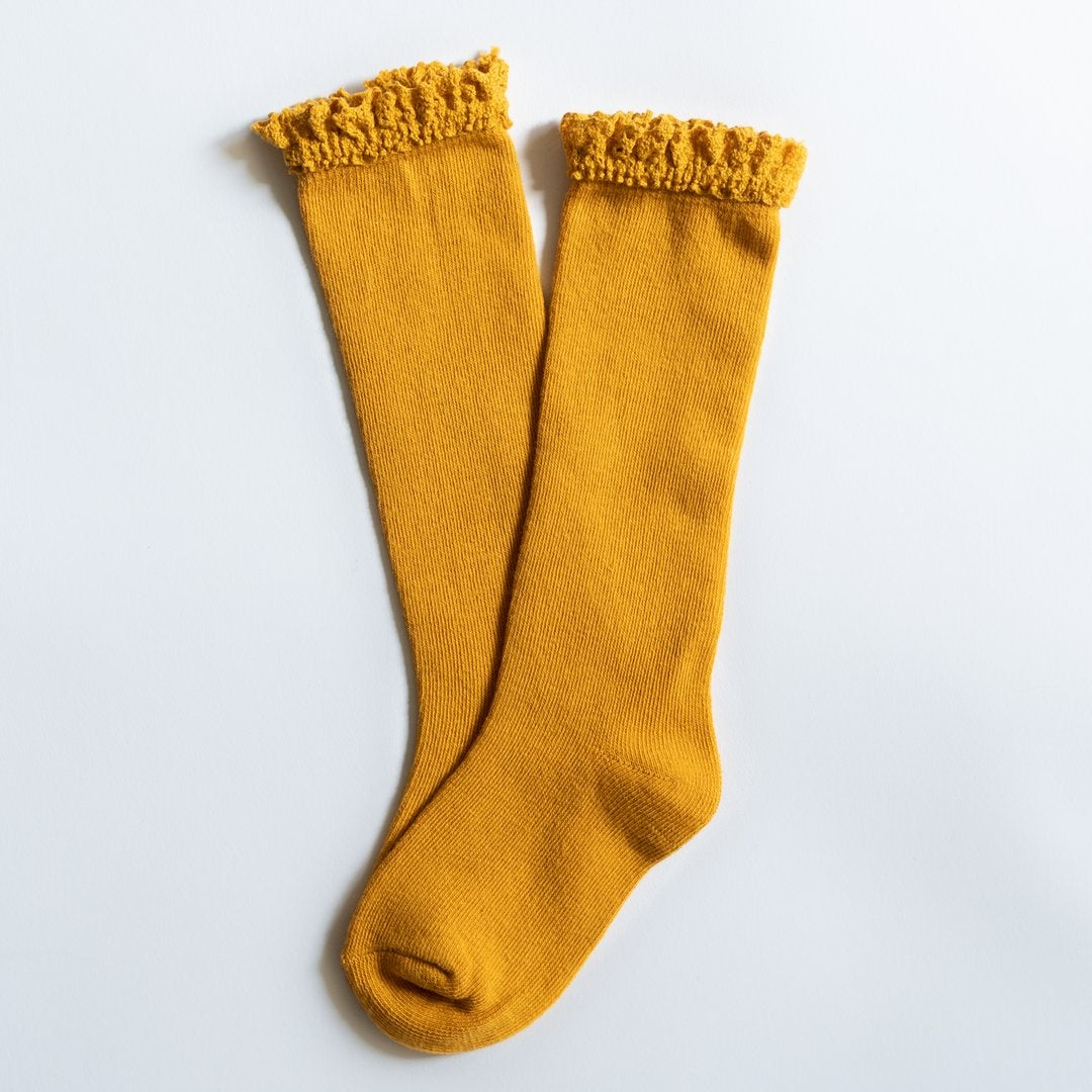 Image of Marigold Yellow Lace Top Knee Highs