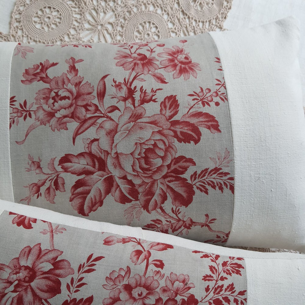 Image of  Pair - Antique French Floral Cushions - A 22