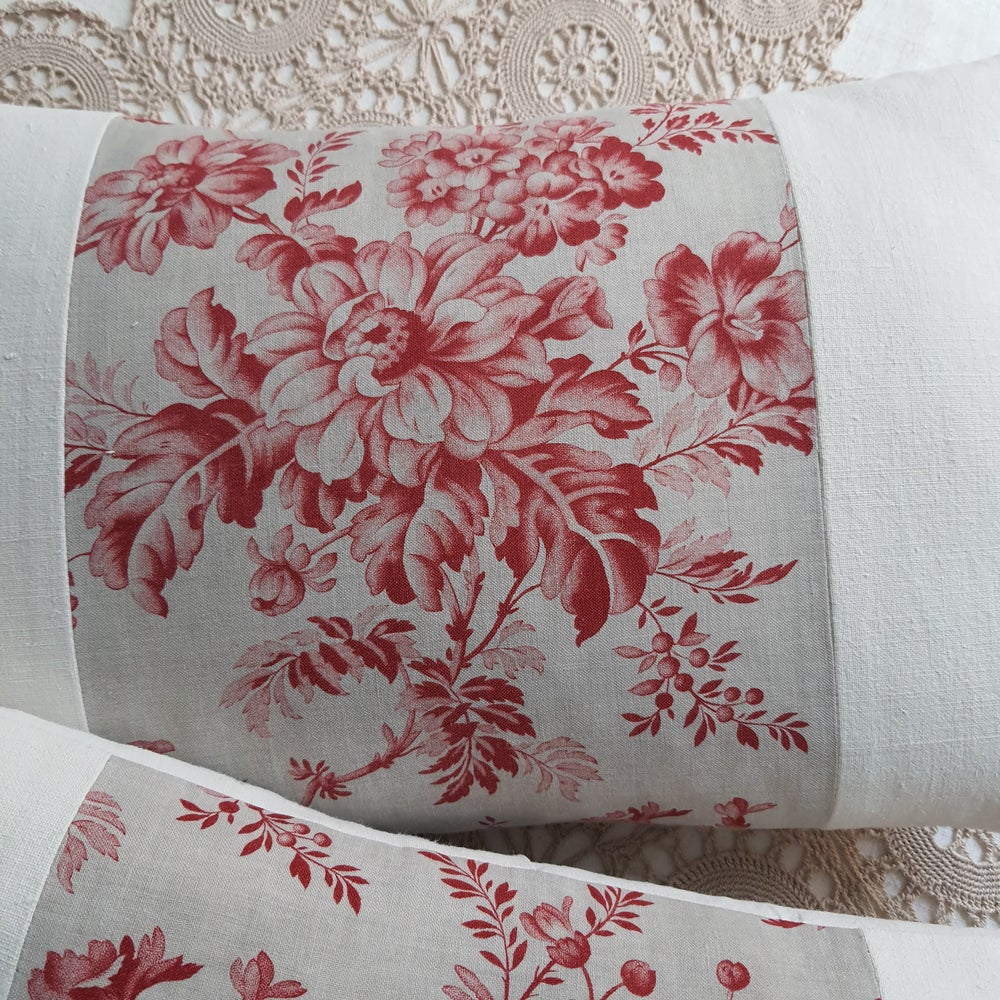 Image of Pair - Antique French Floral Cushions - A 23