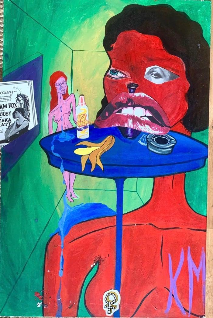 WOMAN, COUNTING, CRYING AND EATING A BANANA, Kim McCuaig (2020)