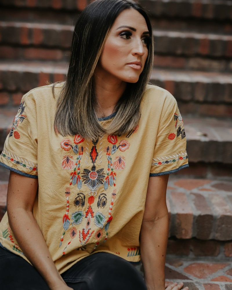 Image of JUNE MUSTARD EMBROIDERED TOP