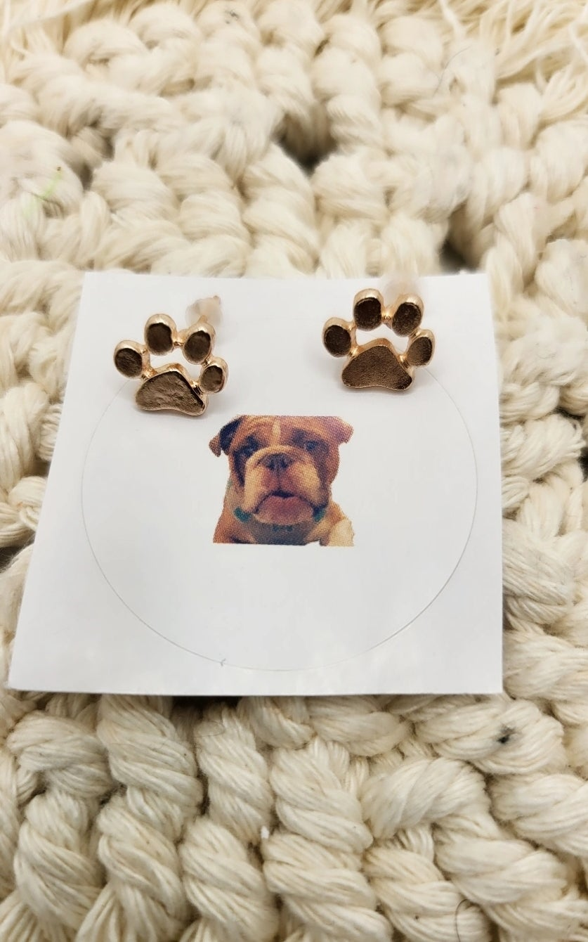 Image of Paw earrings and sticker