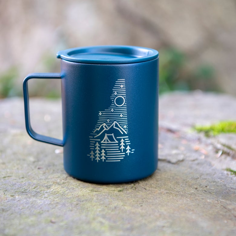Image of Camping Logo Coffee Mug Insulated - Midnight Blue Color