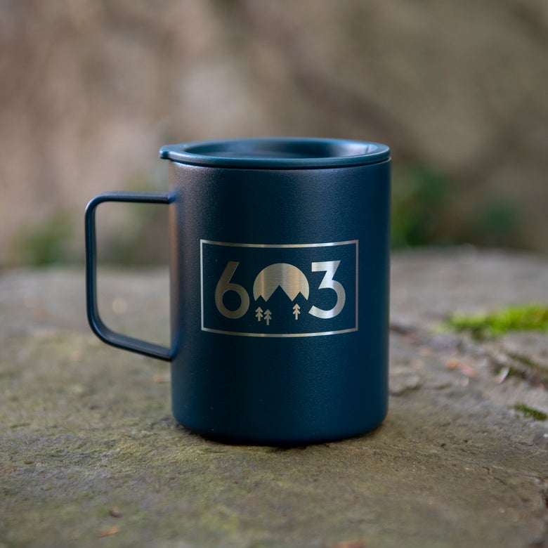 Image of 603 Box Logo Coffee Mug Insulated - Midnight Blue Color