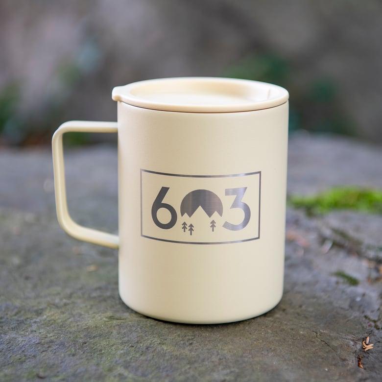 Image of 603 Box Logo Coffee Mug Insulated - Sand Color