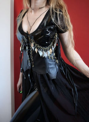 Image of INDIAN SUMMER BLACK EMBROIDERED GENUINE LEATHER PVC TOP (Size M/L)