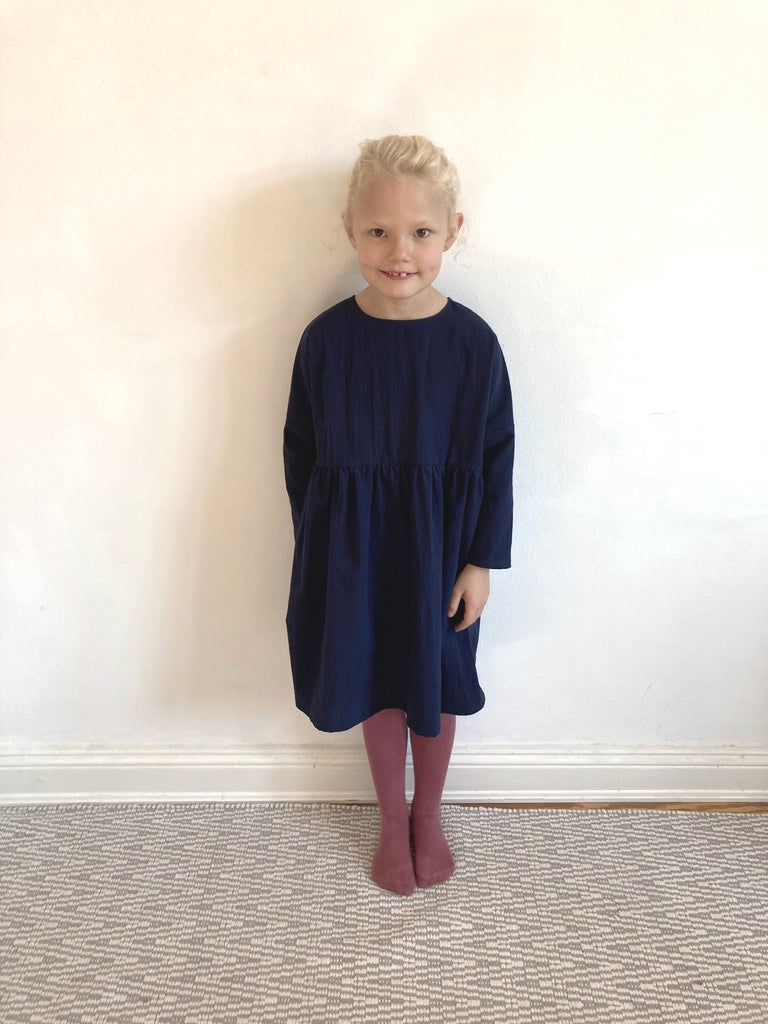 Rosa Dress- navy washed cotton