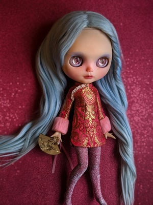 Image of Lounging Linda ~ Red Cheongsam Mini Dress Set for Blythe and Cherry