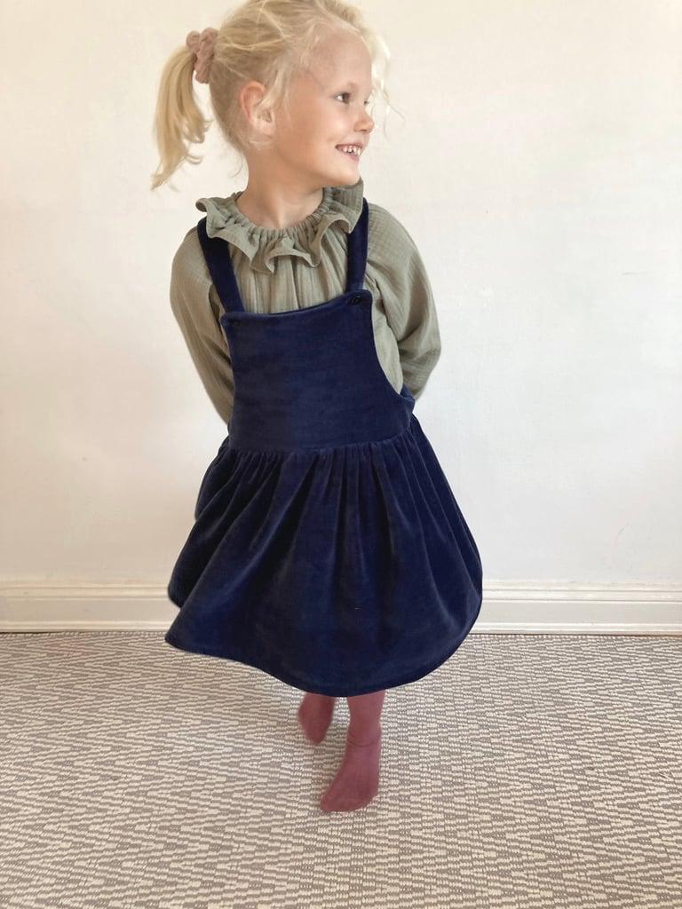 Pinafore Dress - navy nicki velvet