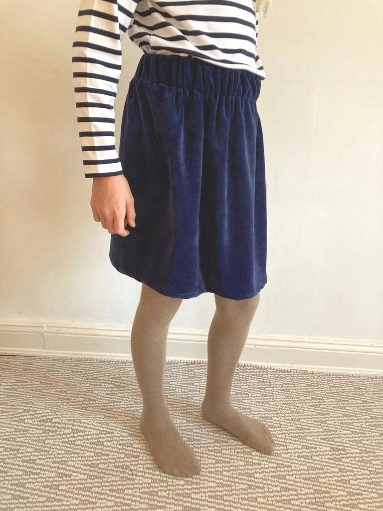 Velvet Mini Skirt-navy