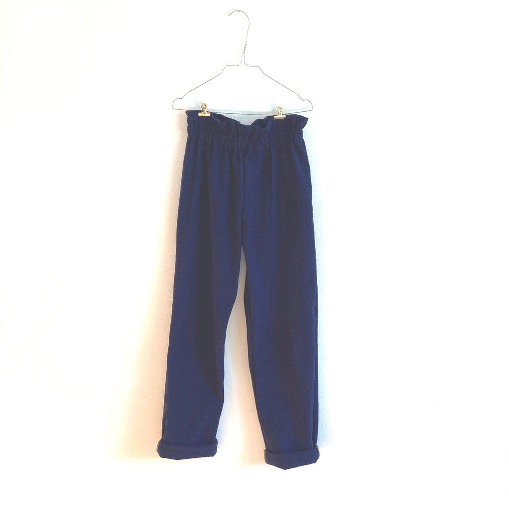 Paperbag Pants-navy washed cotton