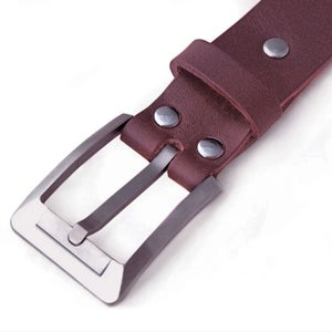 Titanium Buckle 33mm   Handcrafted bridle leather strap   BROWN