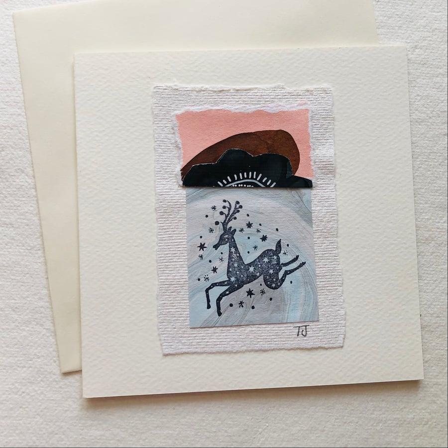Image of Folk Deer Collage Greetings Card iv