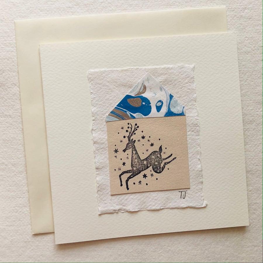 Image of Folk Deer Collage Greetings Card vi