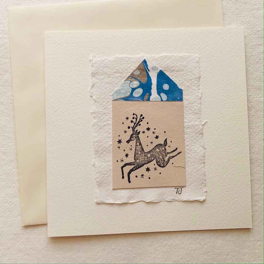 Image of Folk Deer Collage Greetings Card viii