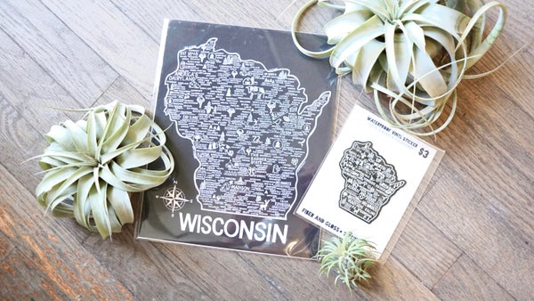 Image of Wisconsin Map Black & Wisconsin Map Sticker