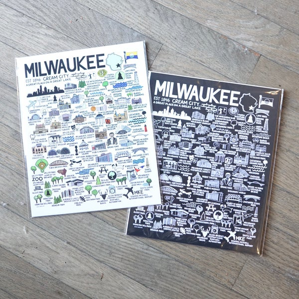 Image of Milwaukee Map Color & Black