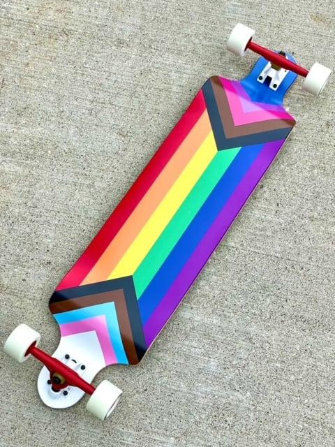 Image of Progress Pride Flag Drop Down Longboard