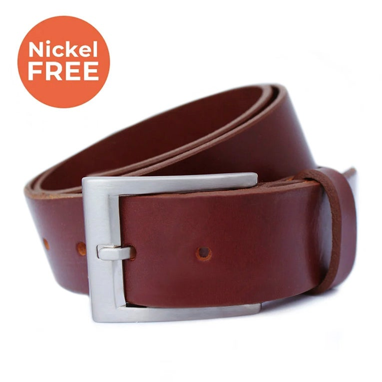 Titanium buckle 38mm | Handcrafted bridle leather strap | BROWN