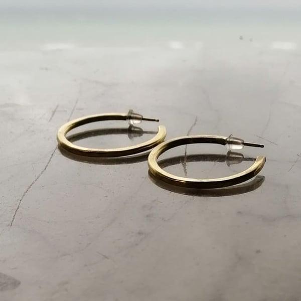 Image of Organic brass semi hoops