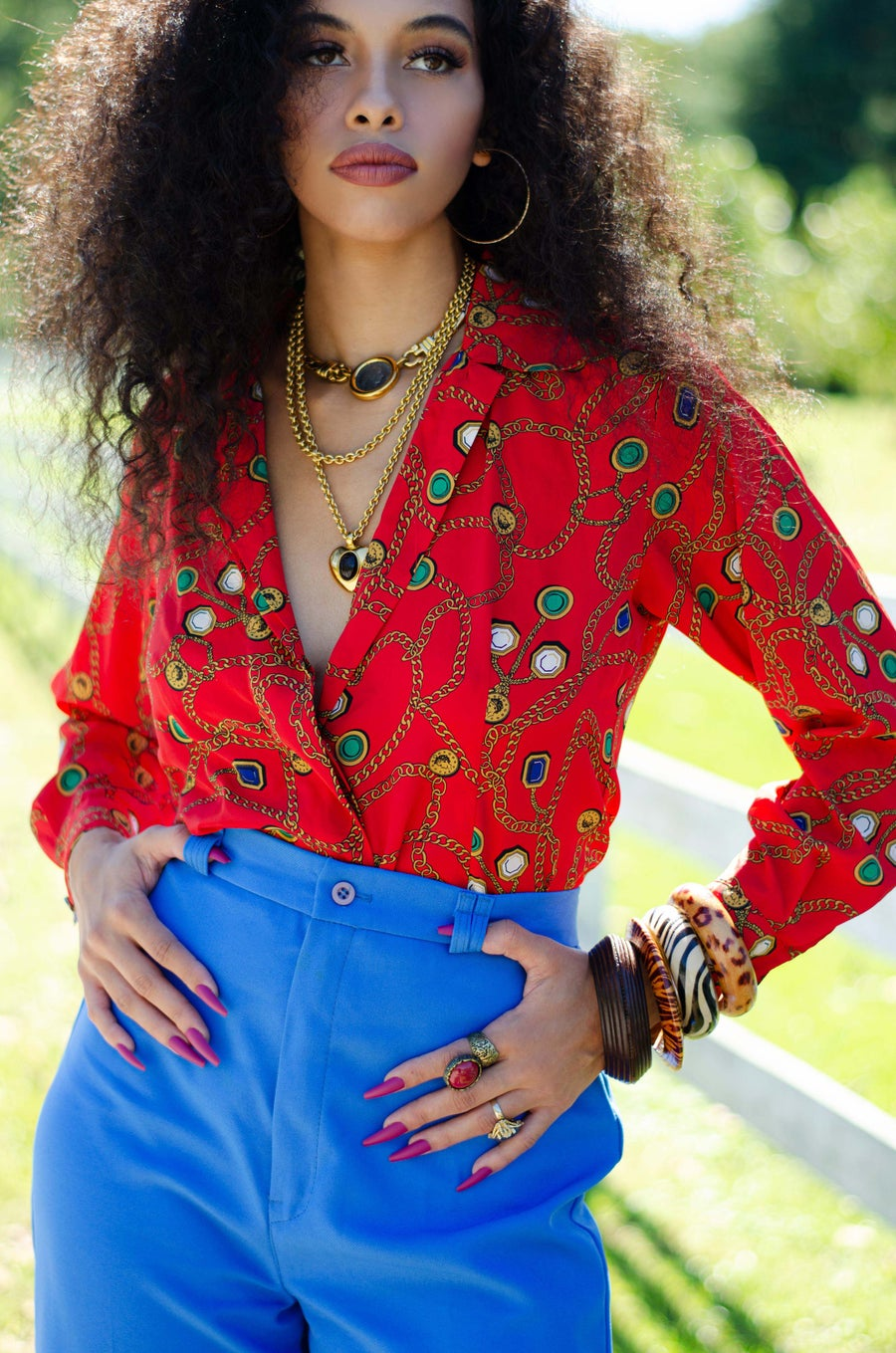 Image of Vintage Timaya Red Chains & Colorful Gems Blouse