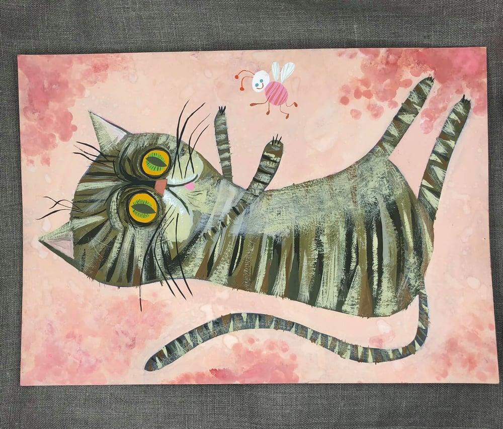 Image of Scaredy Cat. Original painting.