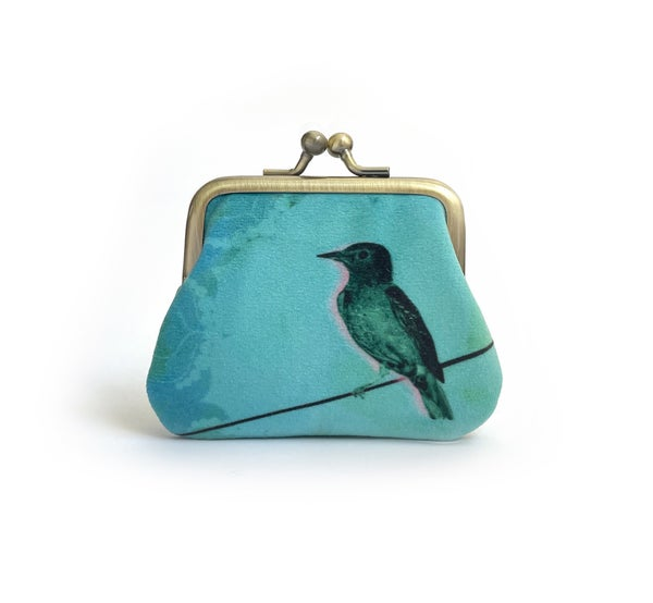 Image of Bird on a wire kisslock coin purse