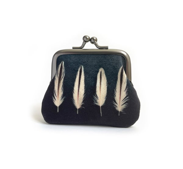 Image of Oystercatcher feathers, kisslock coin purse