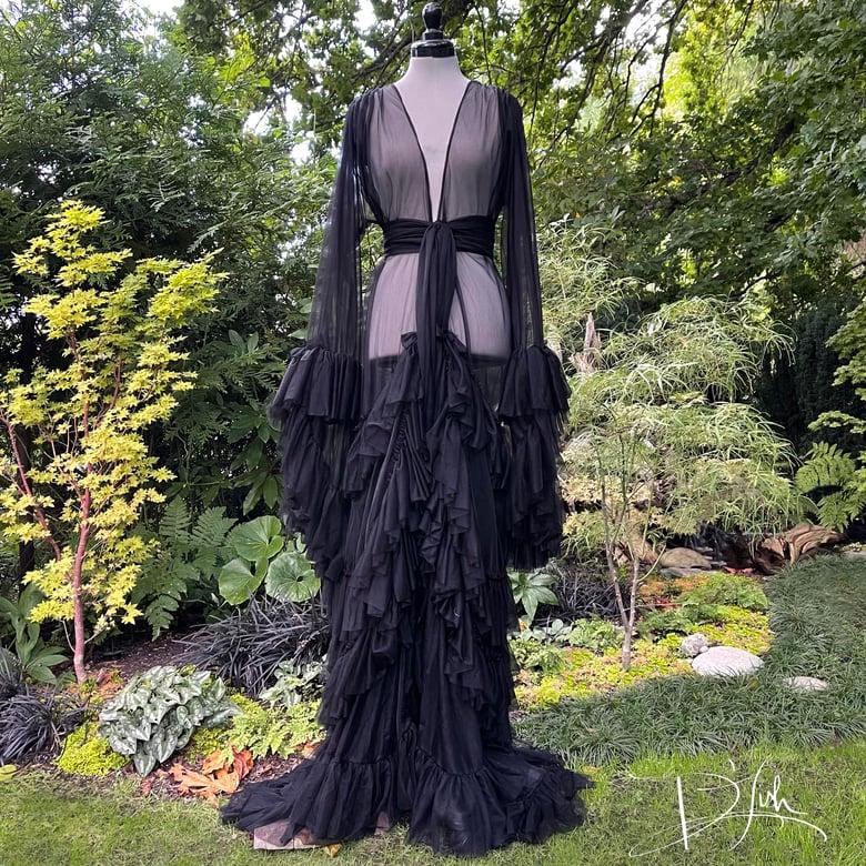 "Image of Black ""Daphne"" Sheer Dressing Gown"