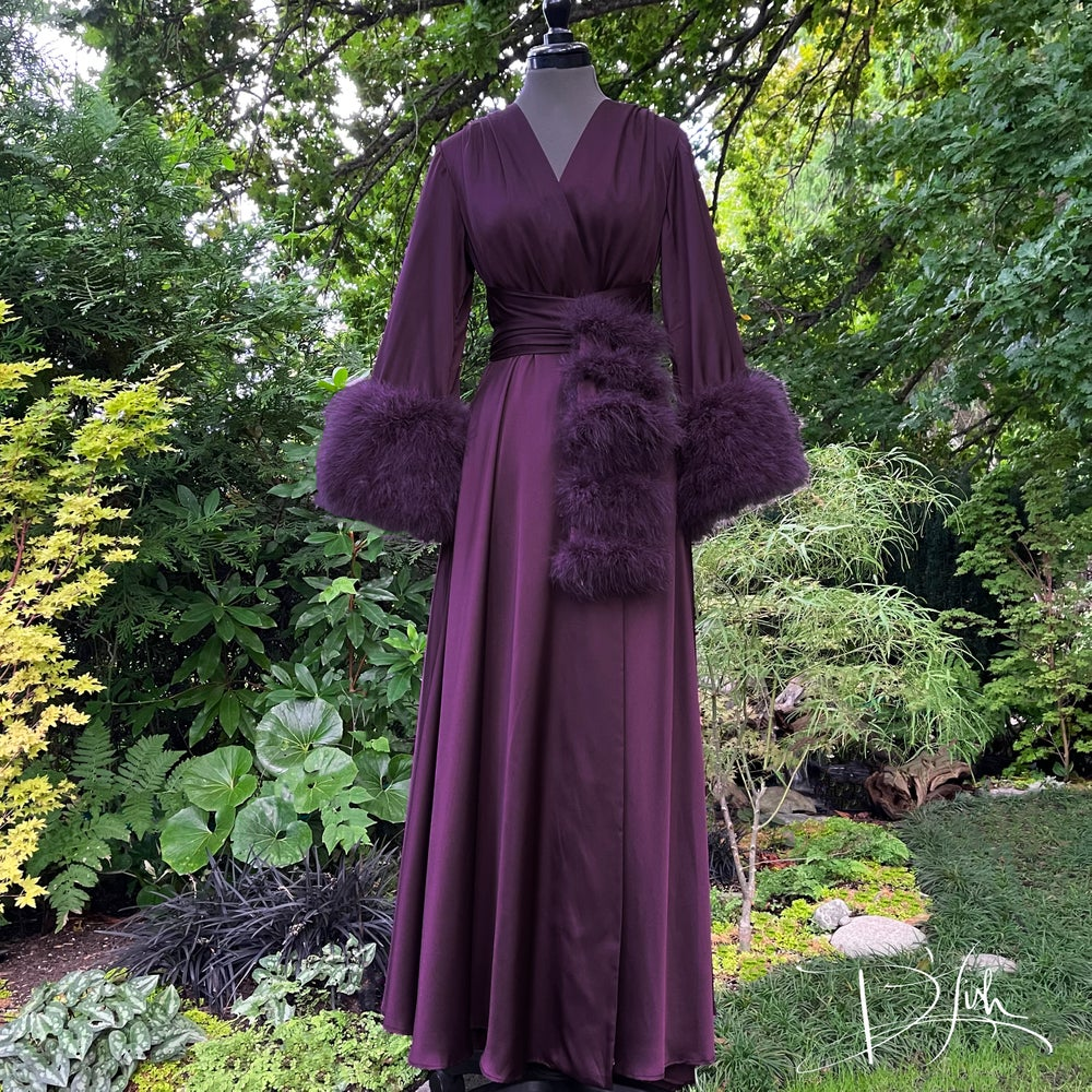 """Image of Aubergine Marabou-cuffed """"Beverly"""" Dressing Gown"""