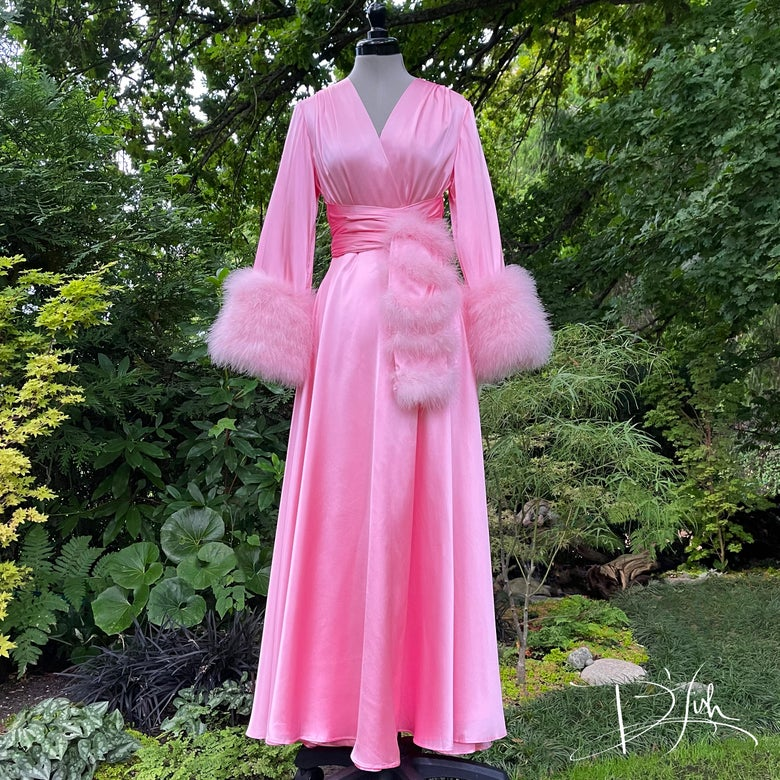 """Image of Petal Pink Marabou-cuffed """"Beverly"""" Dressing Gown"""