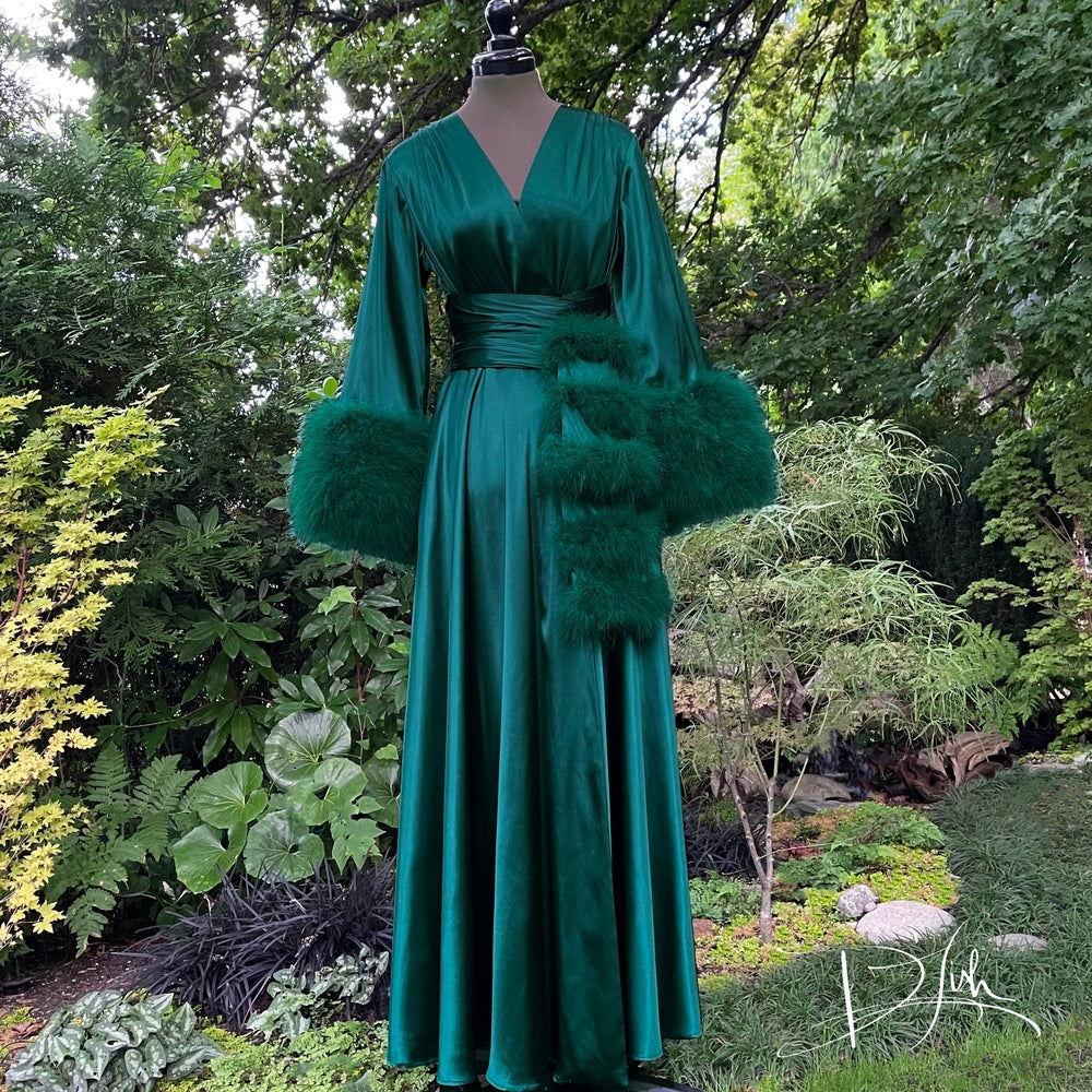"""Image of Forest Green Marabou-cuffed """"Beverly"""" Gown"""