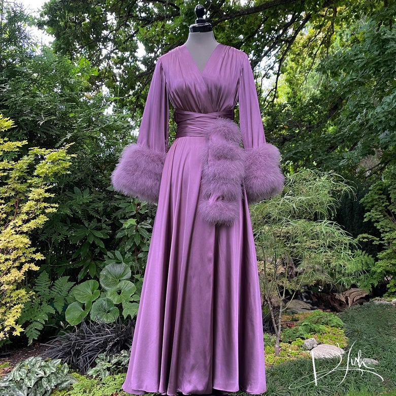 """Image of Purple Dusk Marabou-cuffed """"Beverly"""" Gown"""
