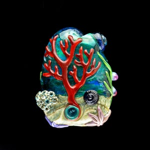 Image of XXXL. Pale Blue-Green Anemone with Clownfish - Flamework Glass Sculpture