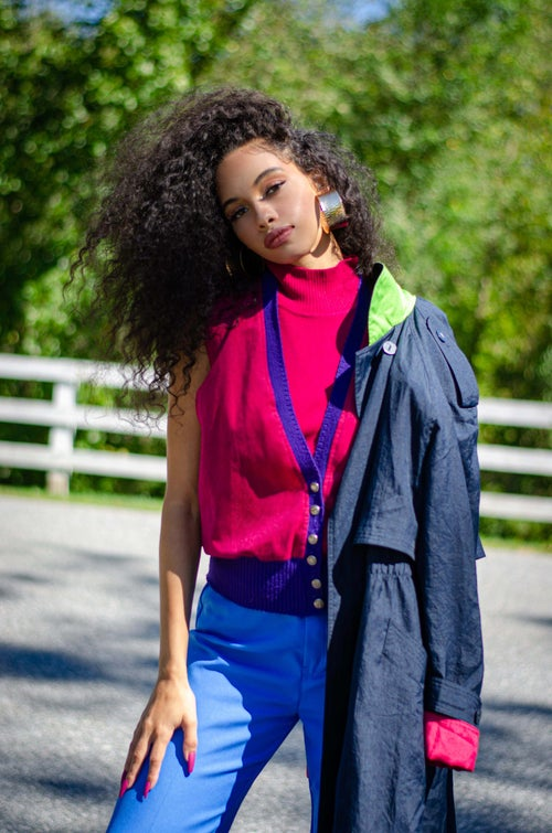 Image of Vintage Gallerie Navy Color Block Trench