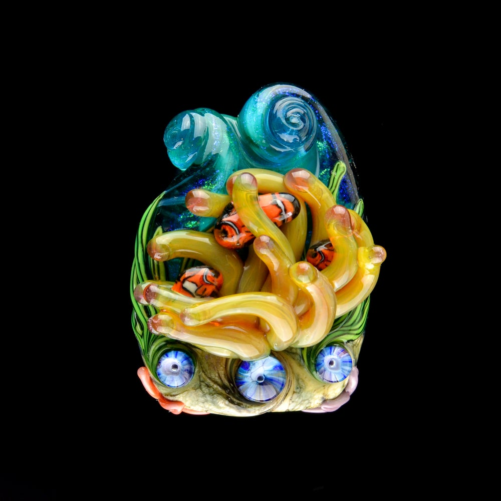 Image of XXXL. Beeswax Milky Anemone with Clownfish Family - Flamework Glass Sculpture