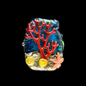 Image of XXL. Lake Baikal Anemone with Clownfish Family - Flamework Glass Sculpture