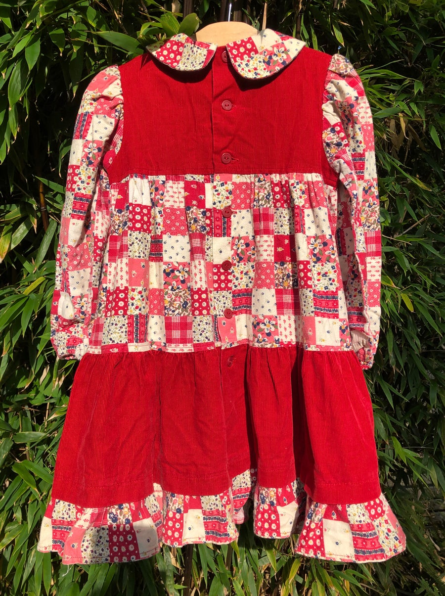 Image of Corduroy and patchwork print 'Holly Hobby' dress. Age 4-5yrs.