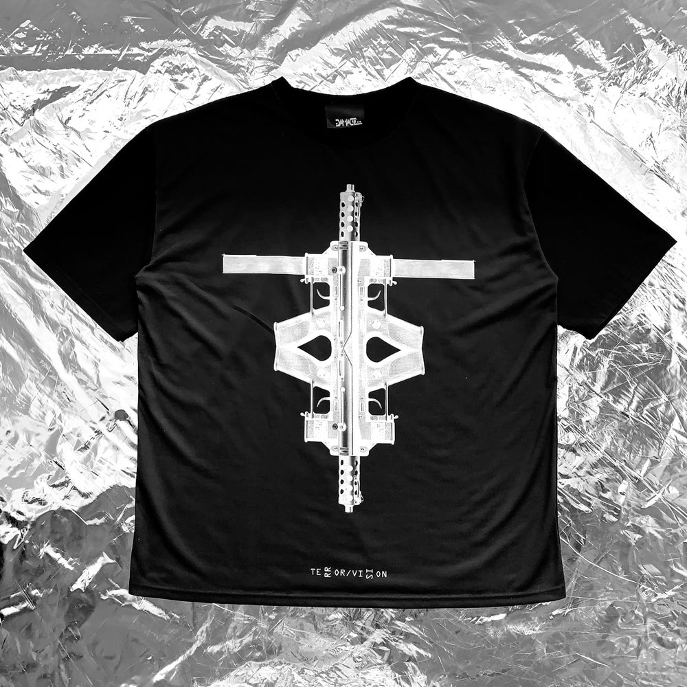 Image of TERROR VISION - Tech9cross black tee (with 3M reflective embroidery logo patch)