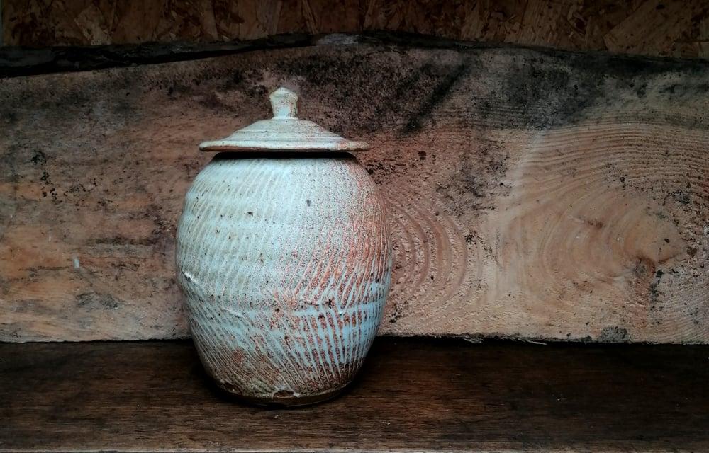 Image of Textured Lidded jar