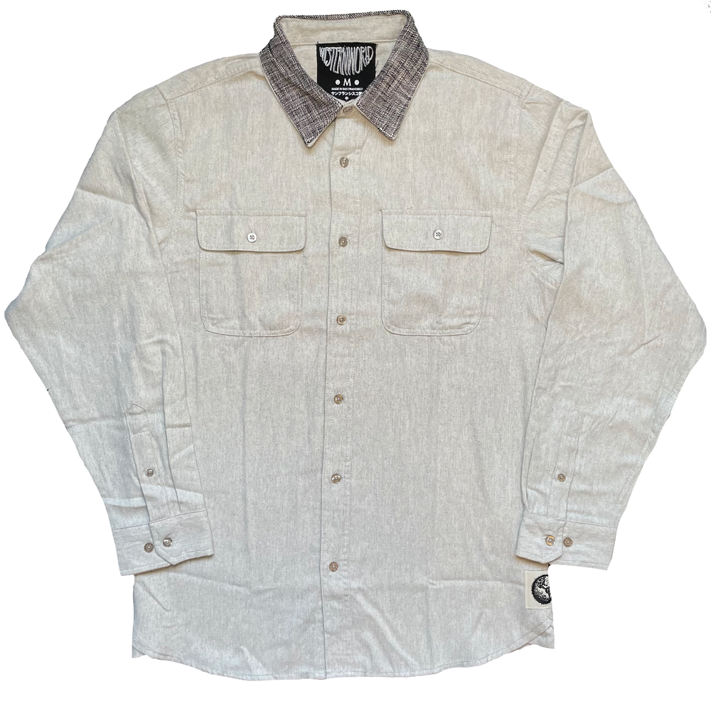 Stone Flannel Button-Up Shirt