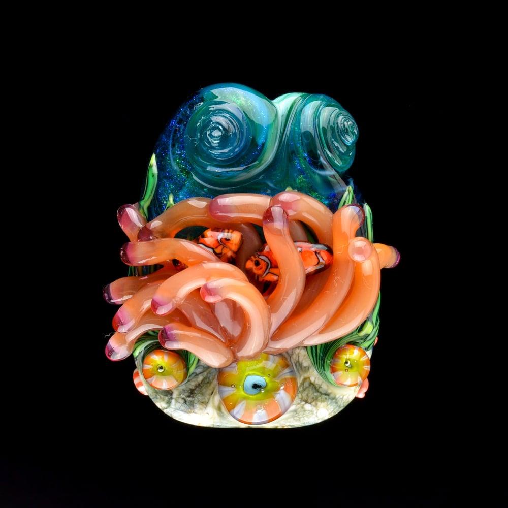 Image of XXXL. Clownfish Family in a Dark Peach Anemone - Flamework Glass Sculpture