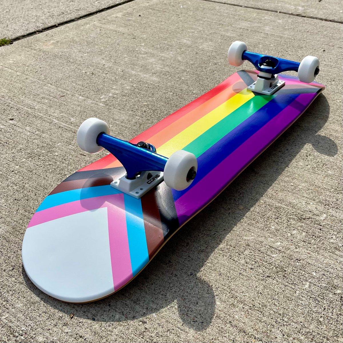 Image of Progress Pride Flag Skateboard