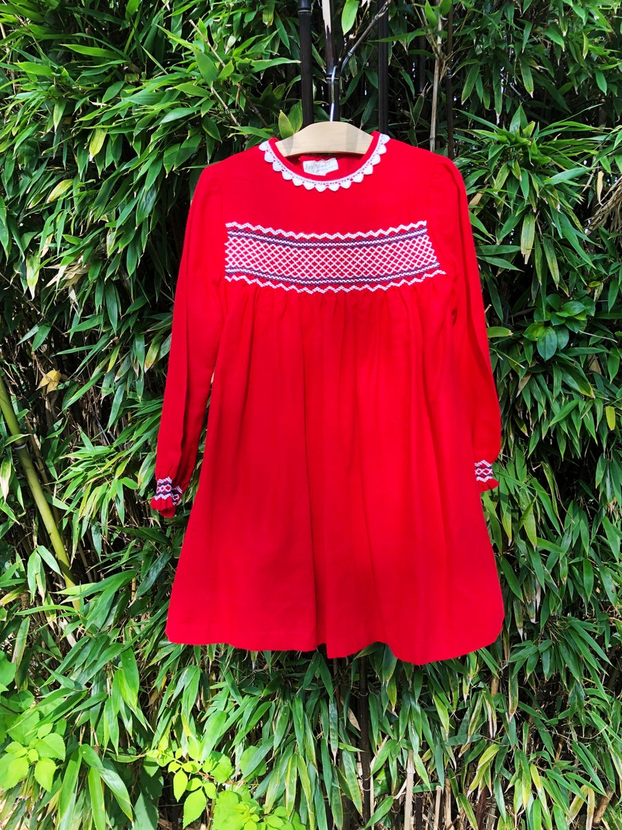 Image of Classic red dress with smocking and heart neckline. Age 2-3yrs.