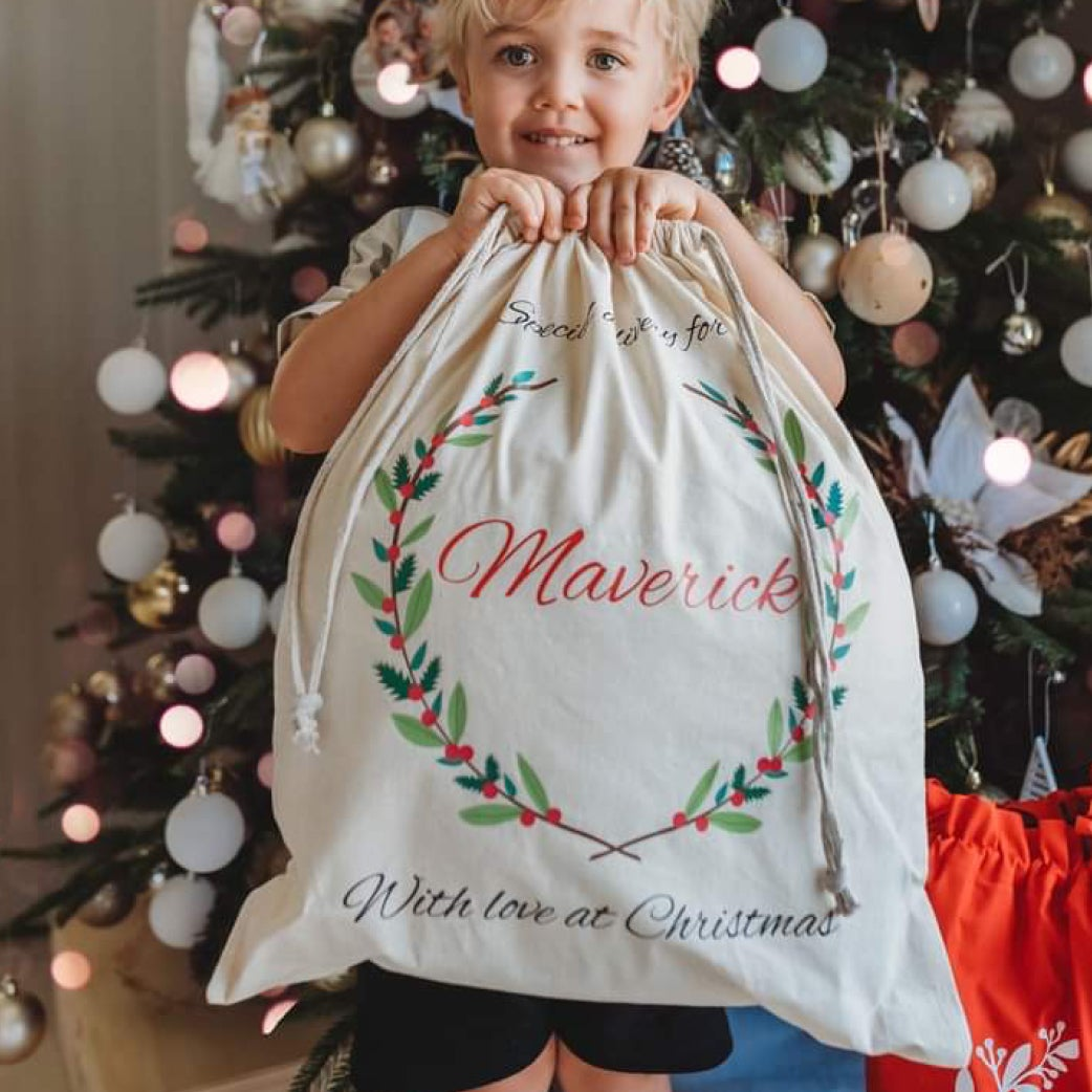 Image of Personalised Christmas Santa Sack - Christmas Wreath
