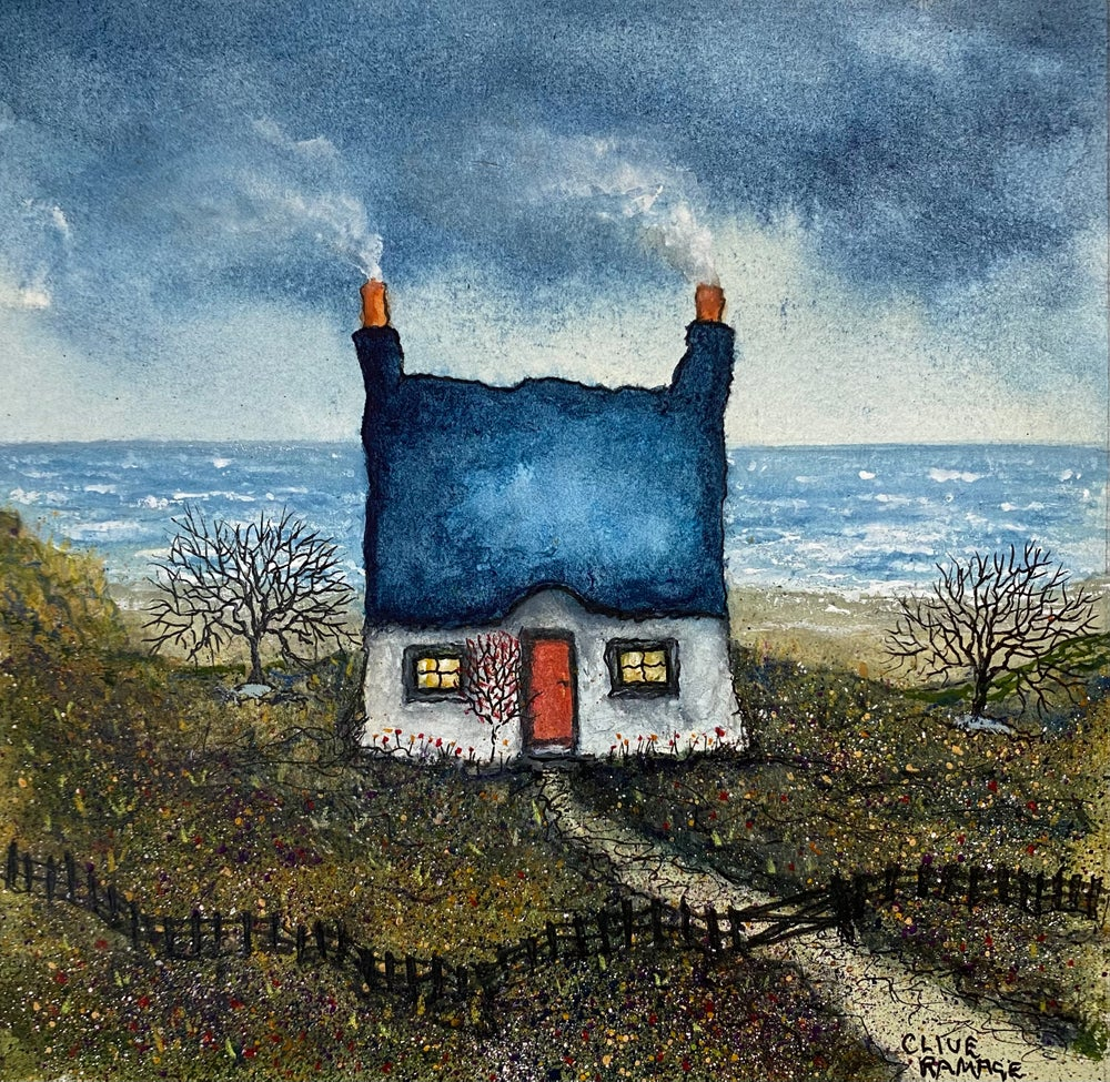 Image of Little Cottage By The Sea (Blue Roof & Rose Tree)