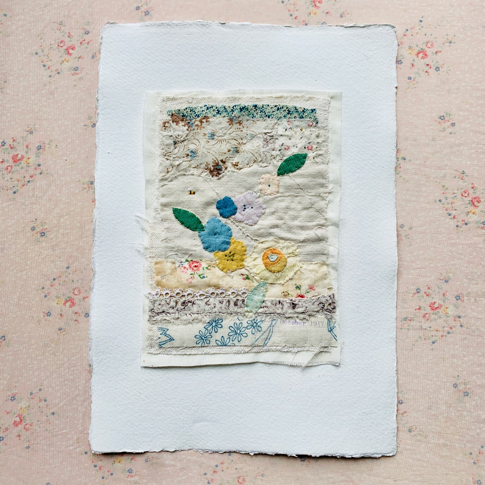 Image of Artwork - original Textile Collage flowers and bee